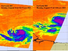 Hurricane Bill on August 16 at 12:17 a.m. EDT (left) and August 17 at 1:50 a.m. EDT (right).