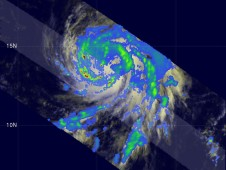 The TRMM satellite flew over the large and well-organized Hurricane Bill.
