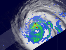 TRMM image of Hurricane Bill's heavy rainfall over the Atlantic on August 17