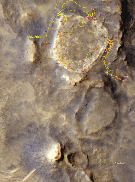 Traverse Map for Spirit - ending on sol 2000
