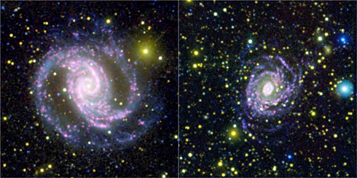 Images from NASA's Galaxy Evolution Explorer spacecraft and the Cerro Tololo International Observatory.