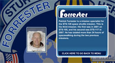 A close-up view of the name Forrester on the STS-128 mission patch and a photo of Patrick Forrester