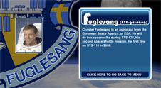 A close-up view of the name Fuglesang on the STS-128 mission patch and a photo of Christer Fuglesang