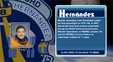 A close-up view of the name Hernández on the STS-128 mission patch and a photo of José Hernández