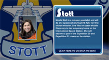 A close-up view of the name Stott on the STS-128 mission patch and a photo of Nicole Stott