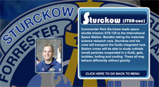 A close-up view of the name Sturckow on the STS-128 mission patch and a photo of Rick Sturckow