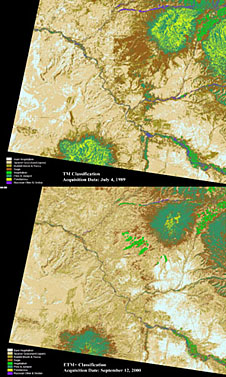 Landsat maps with ground cover changes represented by different colors