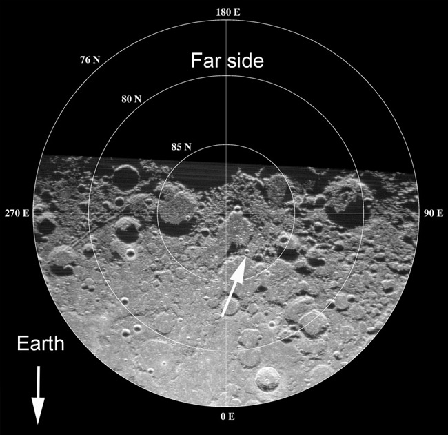 Low resolution Earth-based radar image of the North Pole of the Moon.
