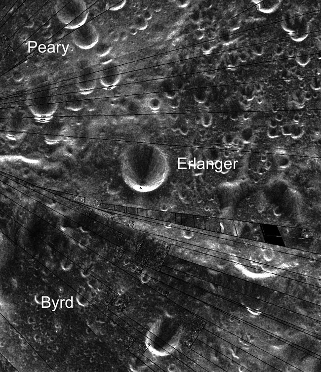 Mosaic of Mini-SAR image strips of the north polar area, showing the crater Erlanger.