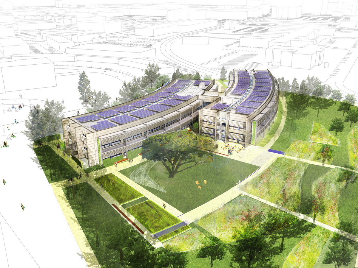 Artist's rendition of the Sustainability Base from an aerial view