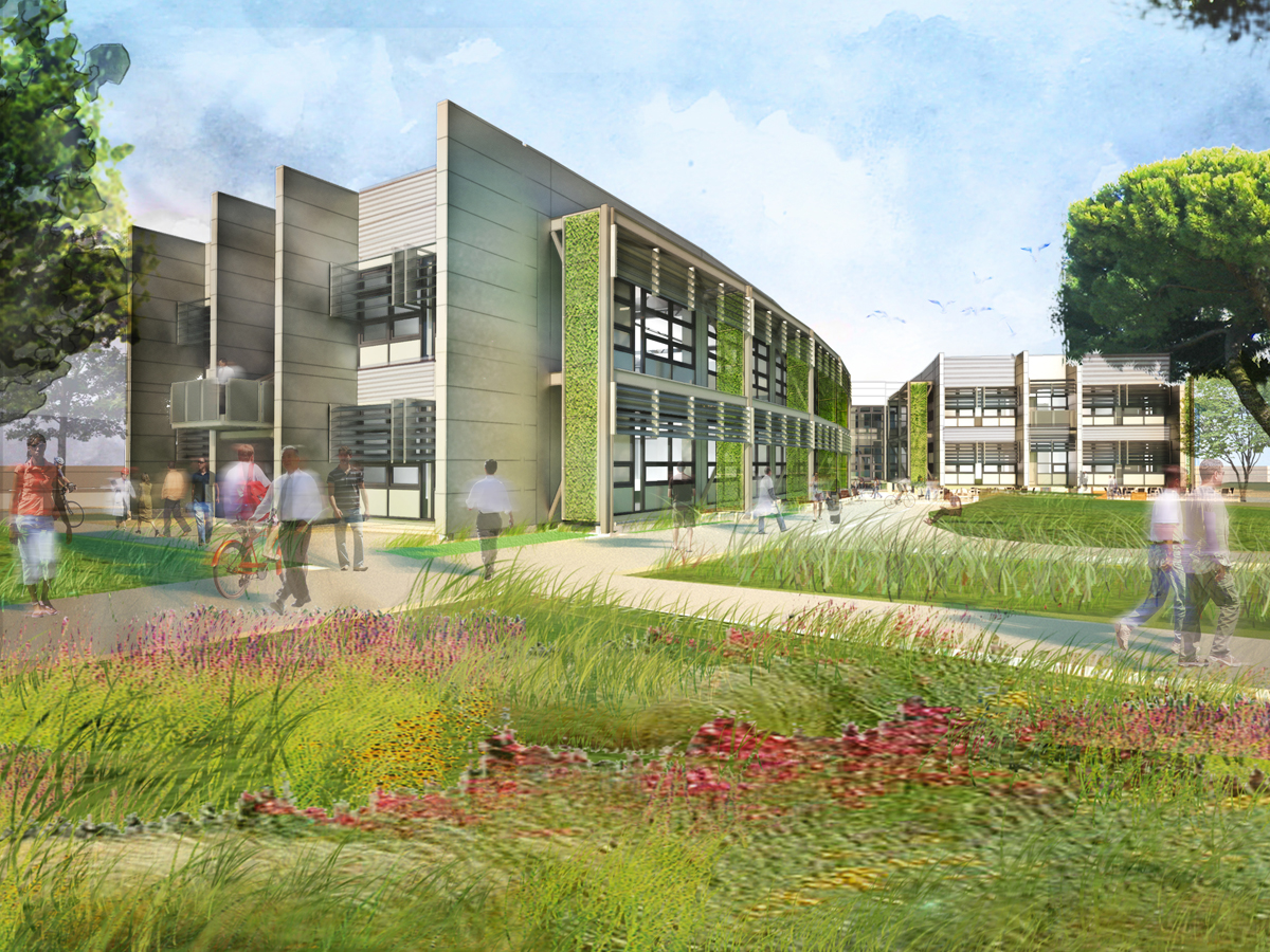 Artist's rendition of the courtyard area for the Sustainability Base