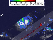 TRMM satellite indicates bands of moderate rainfall near her center.
