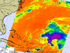 The AIRS instrument provided valuable infrared data on Danny, indicating some strong thunderstorms.