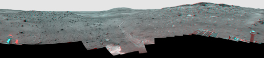 stereo view from the panoramic camera (Pancam) on NASA's Mars Exploration Rover Spirit