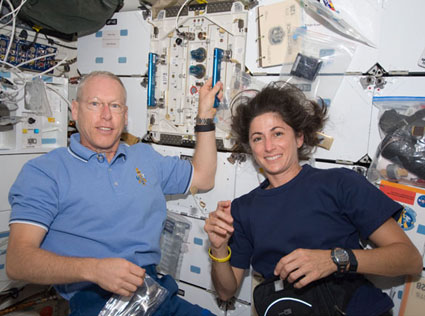 S128-E-006260: Astronauts Patrick Forrester and Nicole Stott