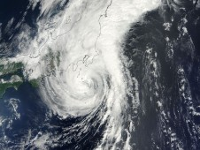 Tropical Storm Krovanh's center just to the southeast of Japan last night at 10:20 p.m. EDT.