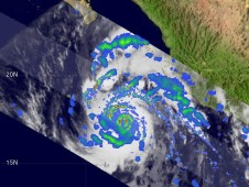 TRMM captured Hurricane Jimena on Monday, August 31, the eye is visible with heavy rainfall around it.