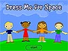 Cartoon drawing showing four children holding hands with the words Dress Me for Space over their heads