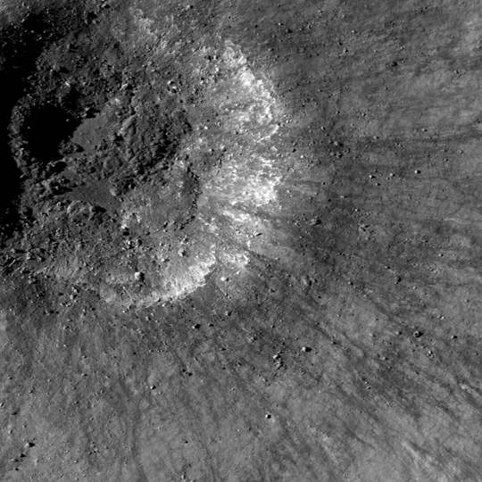 LROC image of very young crater in Balmer basin