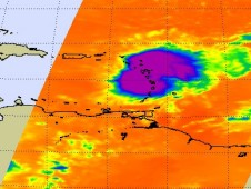 Erika's clouds are the rounded area (purple and blue) located over the Leeward Islands.