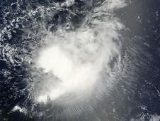 Tropical Storm Erika on September 2 at 10:25 a.m. EDT as she was approaching the Leeward Islands.