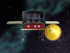 Artist concept to illustrate propane in the atmosphere of Saturn's moon titan.