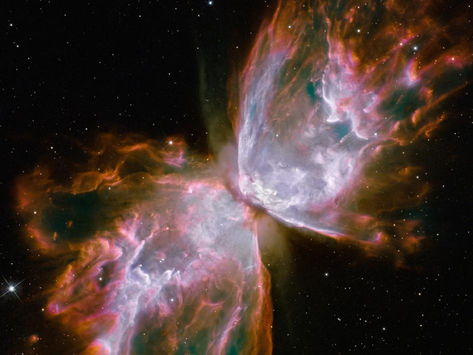 NGC 6302: The Butterfly Nebula. A dying star that was once about five times the mass of the Sun is at the center of this fury. Image and caption courtesy NASA.
