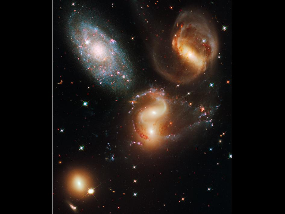 Hubble image of Stephan's Quintet galaxy cluster
