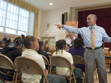 NASA Administrator Charlie Bolden speaks to elementary students at Davis Elementary School