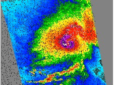 The purple area in Fred's center revealed the strongest winds. Wind direction is indicated by small barbs.