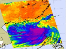 AIRS captured an infrared image of Tropical Storm Koppu's cold, high thunderstorm cloud tops on September 13.