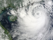 The MODIS instrument revealed Koppu as a well-organized tropical storm near the southeastern China coast.