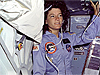 Sally Ride floats inside the space shuttle