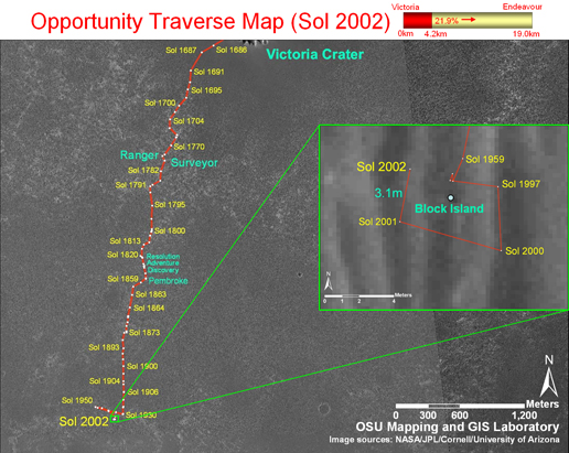 This image shows Opportunity's traverse map through sol 2002