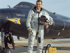 Joe Engle standing in front of the X-15.