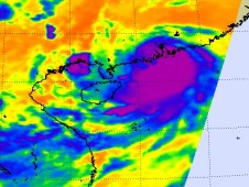 The AIRS instrument infrared data indicated high, frigid thunderstorm cloud top temperatures before Koppu made landfall.