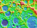 altitude map of lunar south polar region