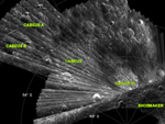 radar map of lunar south polar region
