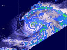 The TRMM satellite captured an image of Choi-Wan's rainfall on September 13, as it was approaching Super Typhoon status.