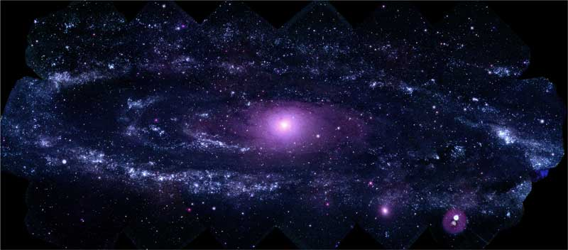 This mosaic of M31 merges 330 individual images taken by the Ultraviolet/Optical Telescope aboard NASA's Swift spacecraft