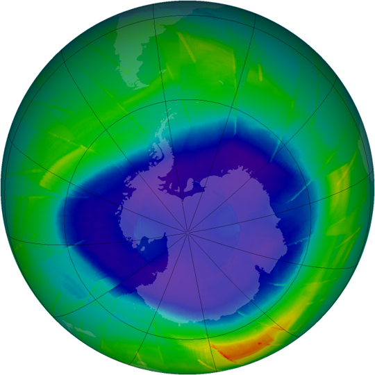 Ozone hole as shown by Sept. 10, 2009, satellite data