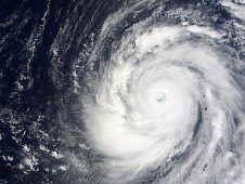 NASA's Terra satellite captured a view of Choi-Wan's clouds on September 16 at 3:25 p.m. local time.
