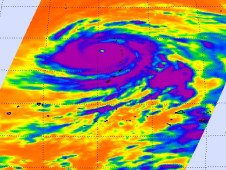 AIRS captured this view of Choi-Wan's frigid thunderstorm tops after it reached Category 5 typhoon status.