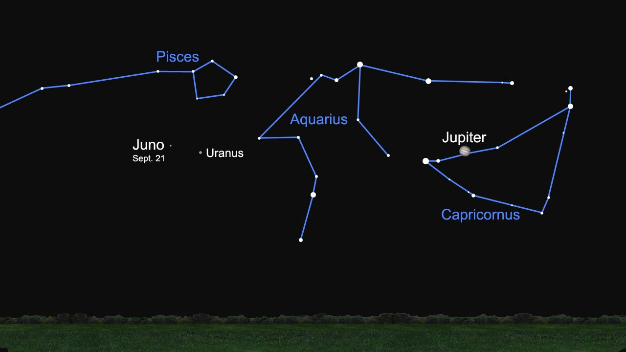On or before Sept. 21, 2009, look for Juno after midnight a few degrees east of the brighter glow of Uranus and in the constellation Pisces