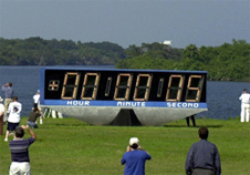The space shuttle countdown clock at Kennedy Space Center