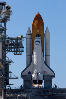 Space shuttle Discovery on Launch Pad 39A at T-10 seconds