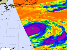 AIRS image showing Choi-Wan's high thunderstorm cloud temperatures