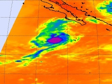 This NASA infrared AIRS satellite image shows Marty's clouds as the rounded area depicted in purple and blue.
