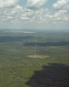 One of a network of 1,000-foot towers equipped with instruments by NOAA to measure the carbon dioxide content of parcels of air across the US