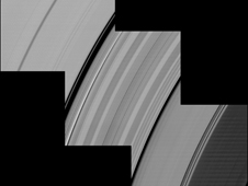 Alternating light and dark bands, extending a great distance across Saturn's D and C rings, are shown here in these Cassini images